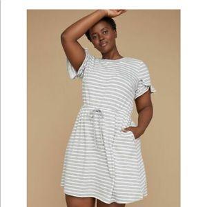 LANE BRYANT Striped RuffleSleeve FrenchTerry Dress